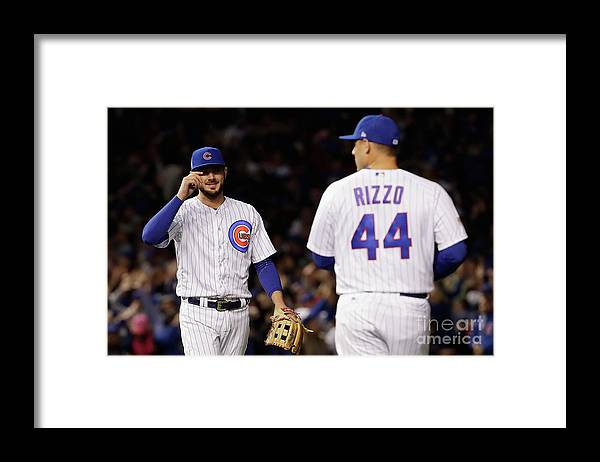 Three Quarter Length Framed Print featuring the photograph Anthony Rizzo and Kris Bryant by Jamie Squire
