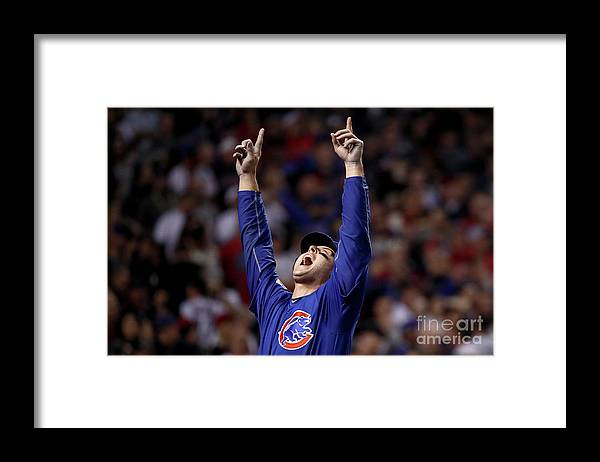 People Framed Print featuring the photograph Anthony Rizzo and Miguel Montero by Ezra Shaw