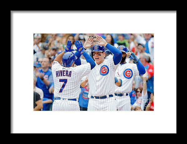 Second Inning Framed Print featuring the photograph Anthony Rizzo and Rene Rivera by Jon Durr