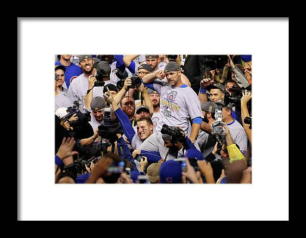 American League Baseball Framed Print featuring the photograph Anthony Rizzo, David Ross, And Jason Heyward by Jamie Squire