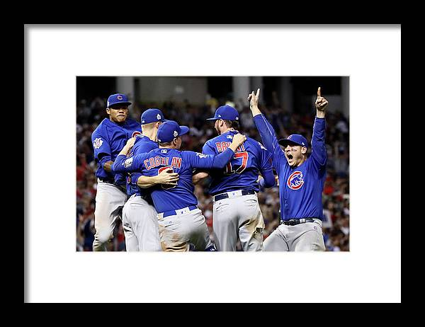 Three Quarter Length Framed Print featuring the photograph Anthony Rizzo, Kris Bryant, and Chris Coghlan by Ezra Shaw