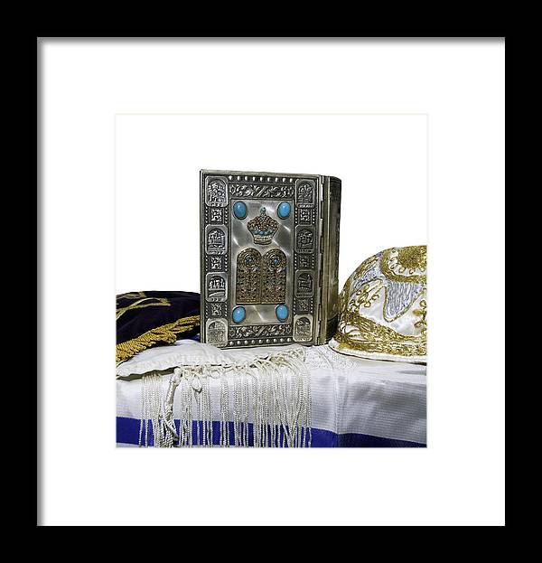 Education Framed Print featuring the photograph Antique Jewish Bible, Yarmulka & Tallis by JodiJacobson