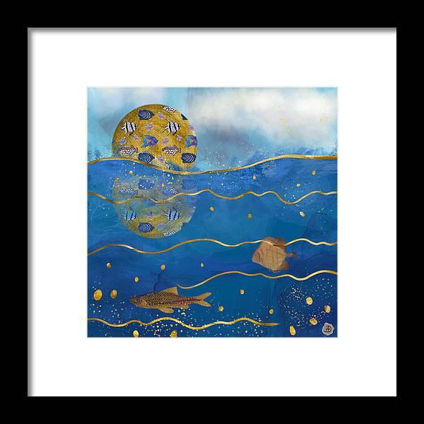 Nature Framed Print featuring the digital art Aquatic Moon - Surrealist Dreamworld by Andreea Dumez