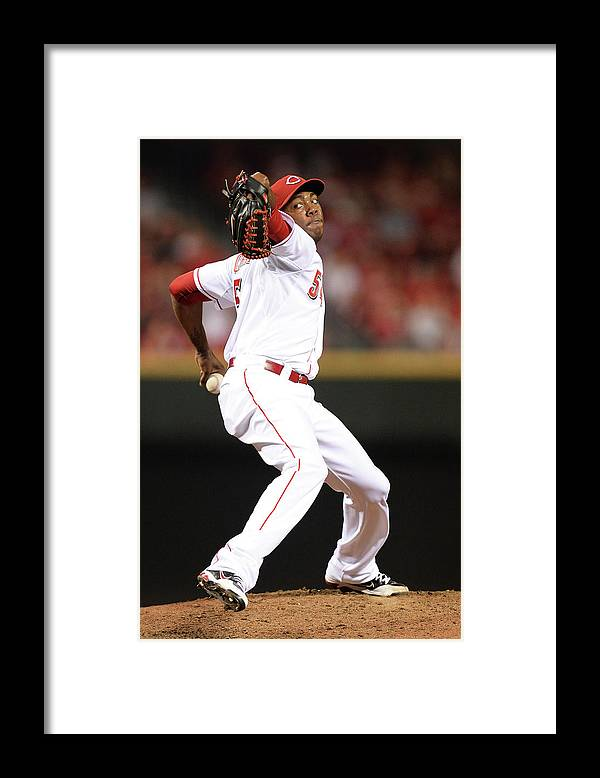 Great American Ball Park Framed Print featuring the photograph Aroldis Chapman by Jamie Sabau