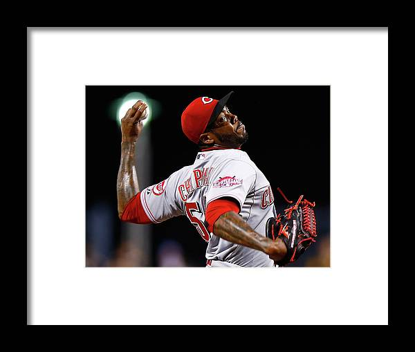 Ninth Inning Framed Print featuring the photograph Aroldis Chapman by Jared Wickerham