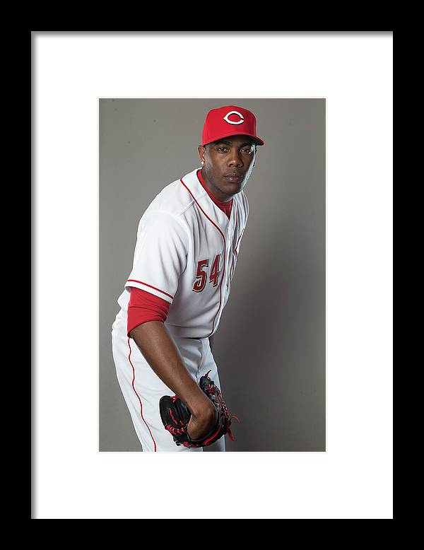 American League Baseball Framed Print featuring the photograph Aroldis Chapman by Mike Mcginnis