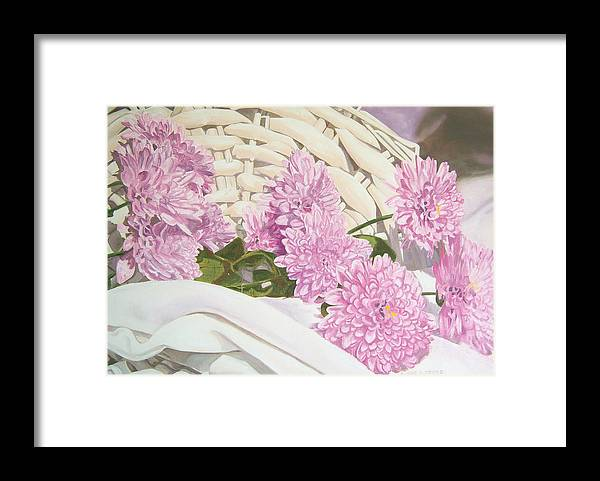 Fine Art Print Framed Print featuring the painting Floral Art Print For Sale Still Life Oil Painting by Diane Jorstad