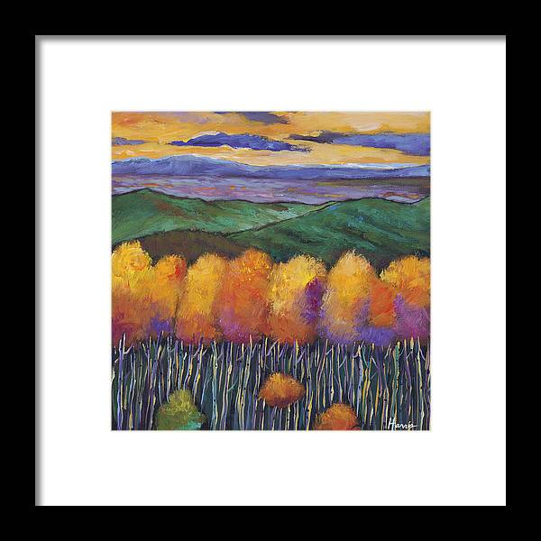 Landscape Framed Print featuring the painting Aspen Nightfall by Johnathan Harris
