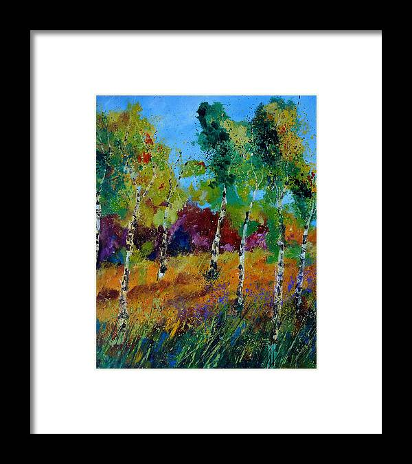 Landscape Framed Print featuring the painting Aspen trees in autumn by Pol Ledent