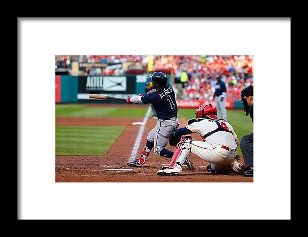 St. Louis Cardinals Framed Print featuring the photograph Atlanta Braves v St Louis Cardinals by Dilip Vishwanat