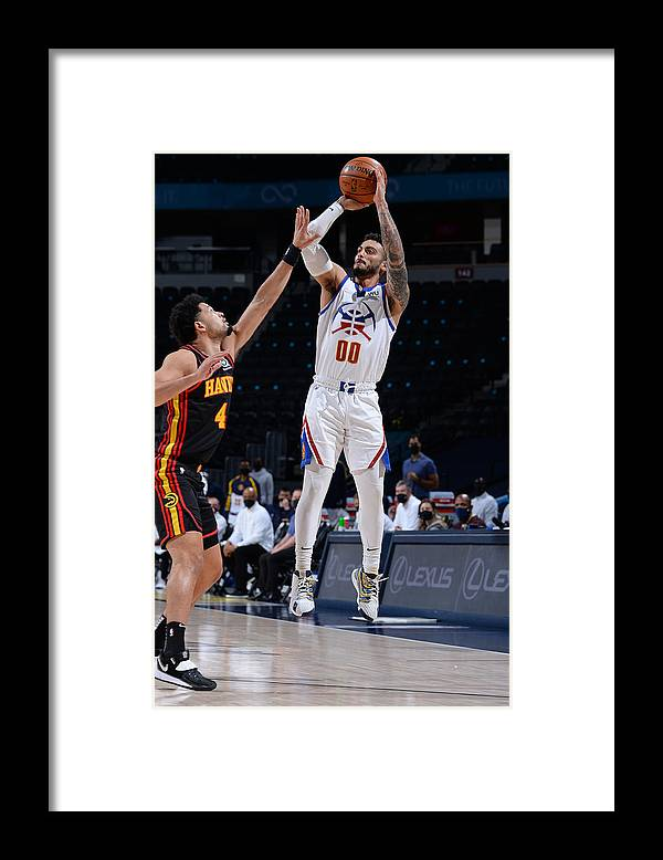 Nba Pro Basketball Framed Print featuring the photograph Atlanta Hawks v Denver Nuggets by Bart Young