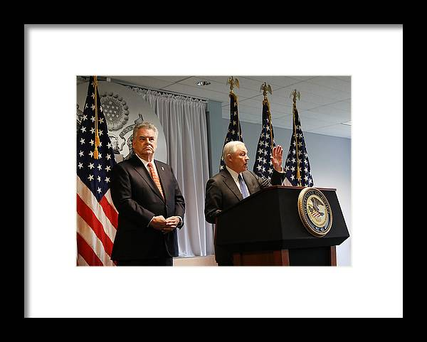 Three Quarter Length Framed Print featuring the photograph Attorney General Jeff Sessions Addresses Violent Crime On Visit To Long Island by Spencer Platt