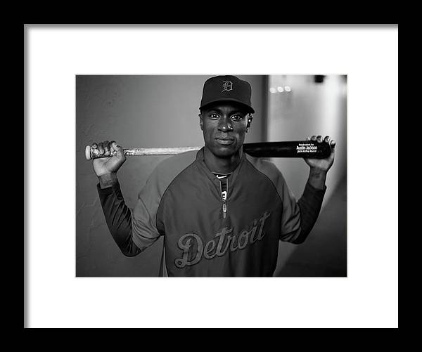 American League Baseball Framed Print featuring the photograph Austin Jackson by Jared Wickerham