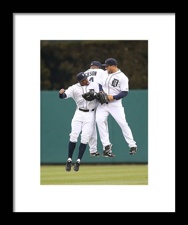 American League Baseball Framed Print featuring the photograph Austin Jackson, Rajai Davis, and Tyler Collins by Leon Halip