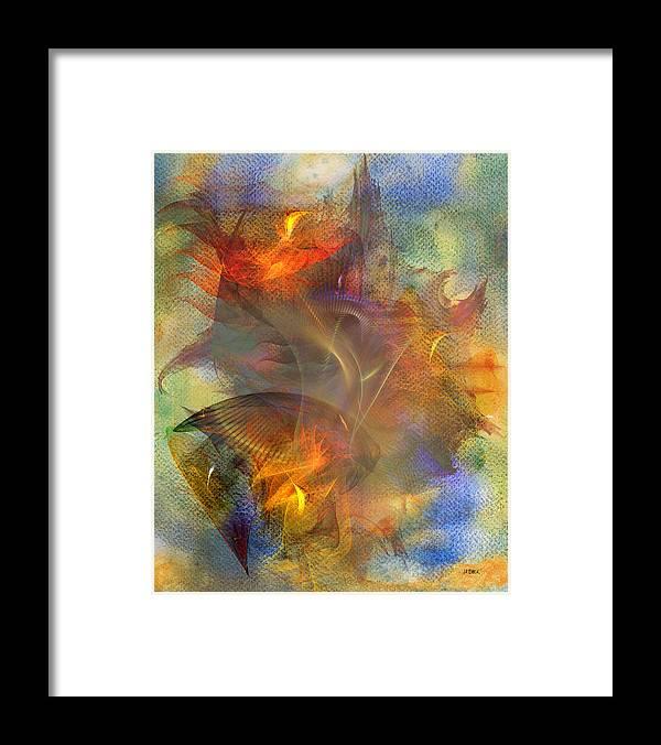 Autumn Ablaze Framed Print featuring the digital art Autumn Ablaze by John Robert Beck