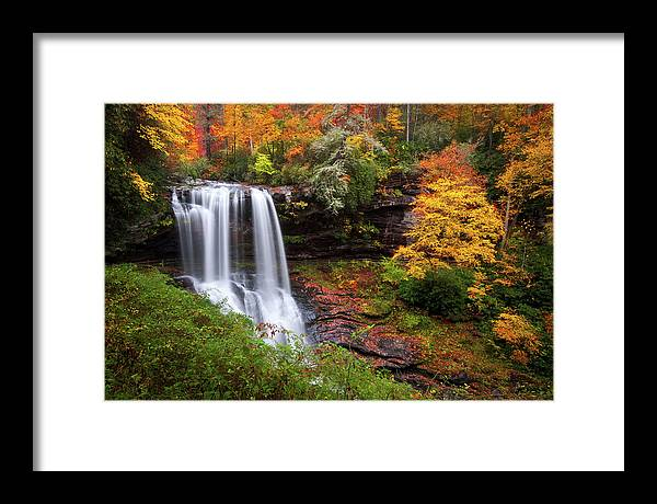 Waterfalls Framed Print featuring the photograph Autumn at Dry Falls - Highlands NC Waterfalls by Dave Allen