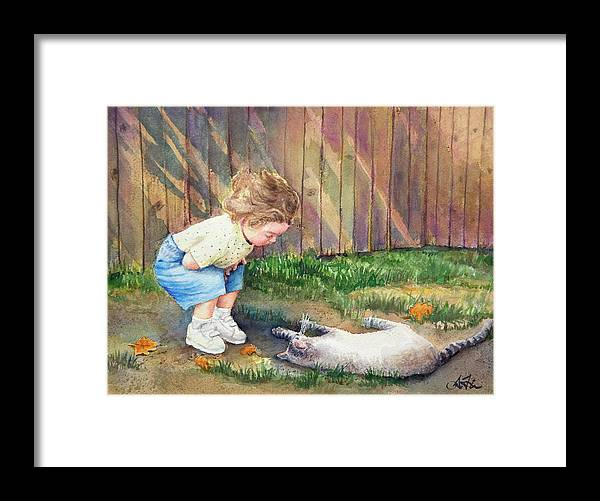 Child Framed Print featuring the painting Autumn Catnip by Arthur Fix