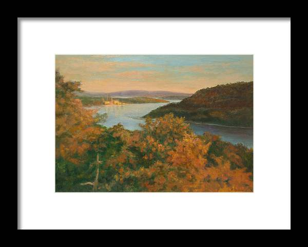 Landscape Framed Print featuring the painting Autumn Hudson Highlands by Phyllis Tarlow