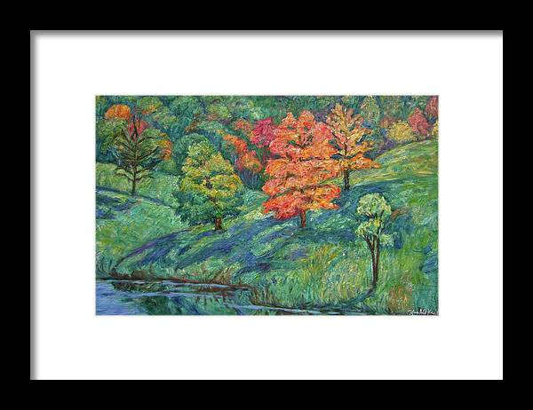 Landscape Framed Print featuring the painting Autumn Pond by Kendall Kessler