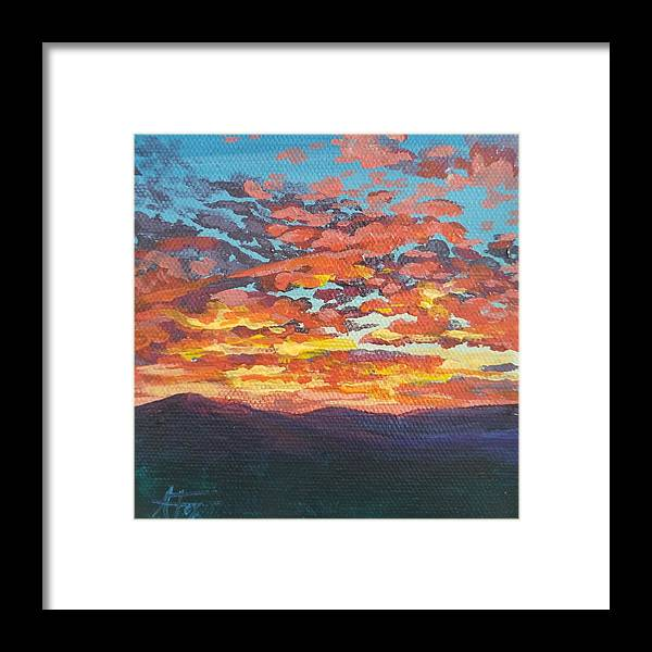 Sunset Framed Print featuring the painting Autumn Sunset by Allison Fox