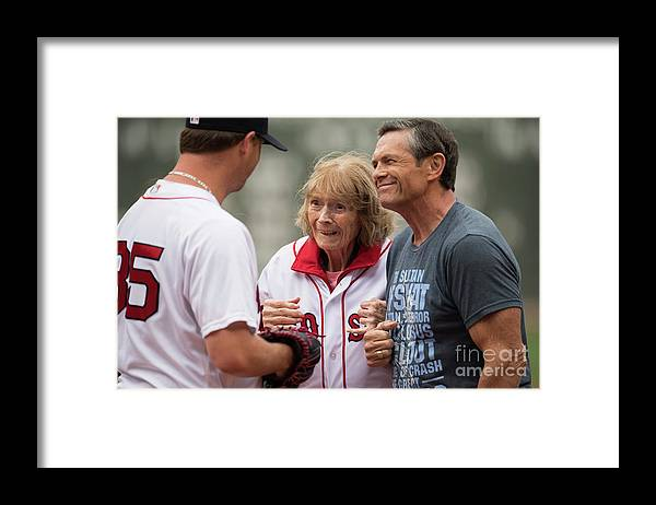 People Framed Print featuring the photograph Babe Ruth and Steven Wright by Michael Ivins/boston Red Sox