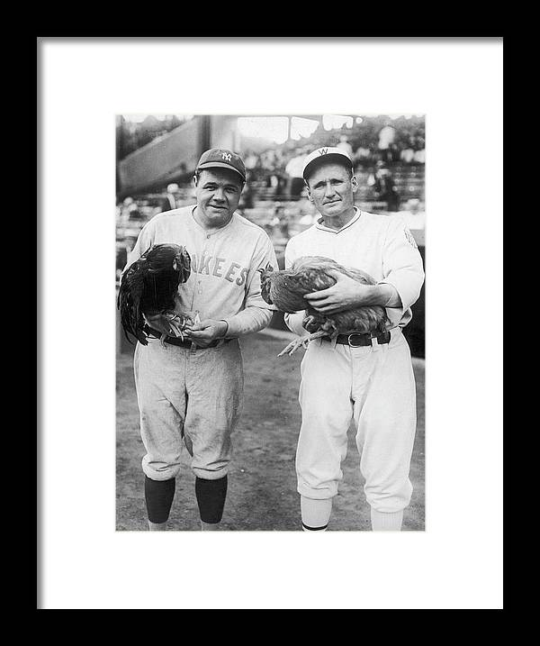 Baseball Cap Framed Print featuring the photograph Babe Ruth and Walter Johnson by Fpg