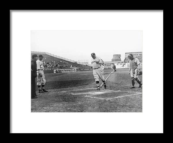 Baseball Cap Framed Print featuring the photograph Babe Ruth by Fpg