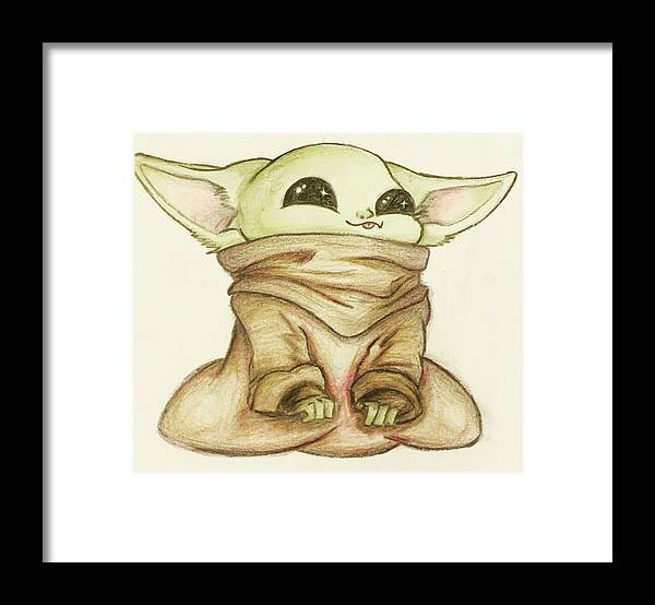 Baby Framed Print featuring the drawing Baby Yoda by Tejay Nichols
