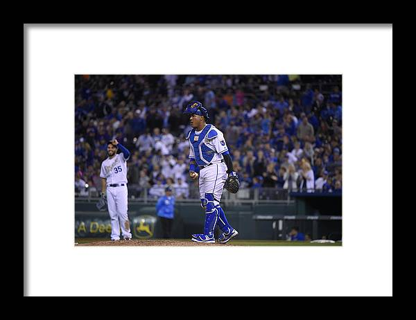 Salvador Perez Diaz Framed Print featuring the photograph Baltimore Orioles v Kansas City Royals by Ed Zurga