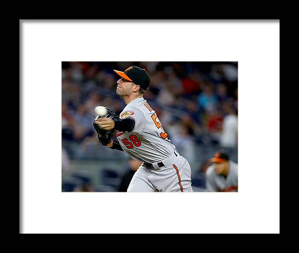 American League Baseball Framed Print featuring the photograph Baltimore Orioles v New York Yankees by Elsa