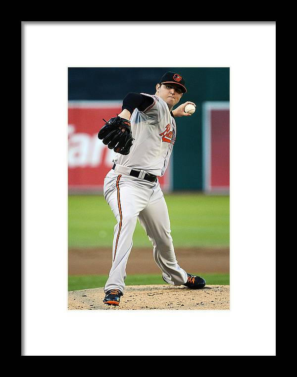 American League Baseball Framed Print featuring the photograph Baltimore Orioles V Oakland Athletics by Thearon W. Henderson