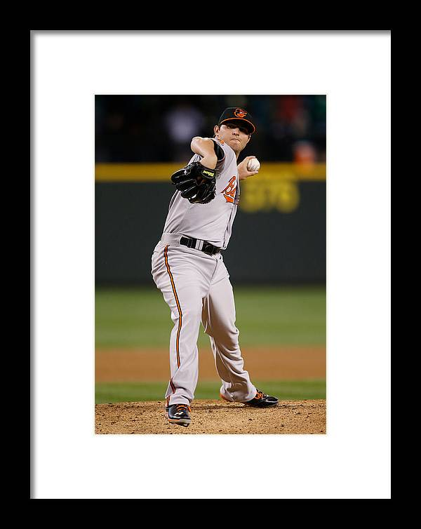 American League Baseball Framed Print featuring the photograph Baltimore Orioles V Seattle Mariners by Otto Greule Jr