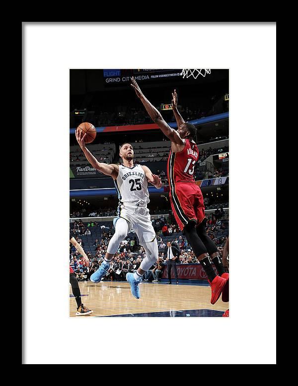 Nba Pro Basketball Framed Print featuring the photograph Bam Adebayo and Chandler Parsons by Joe Murphy