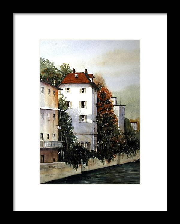 Rhine Framed Print featuring the painting Banks Of The Rhine by Charles Rowland
