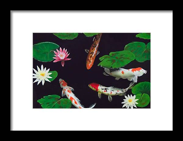 Koi Framed Print featuring the painting Barbie's Koi pond by Philip Fleischer