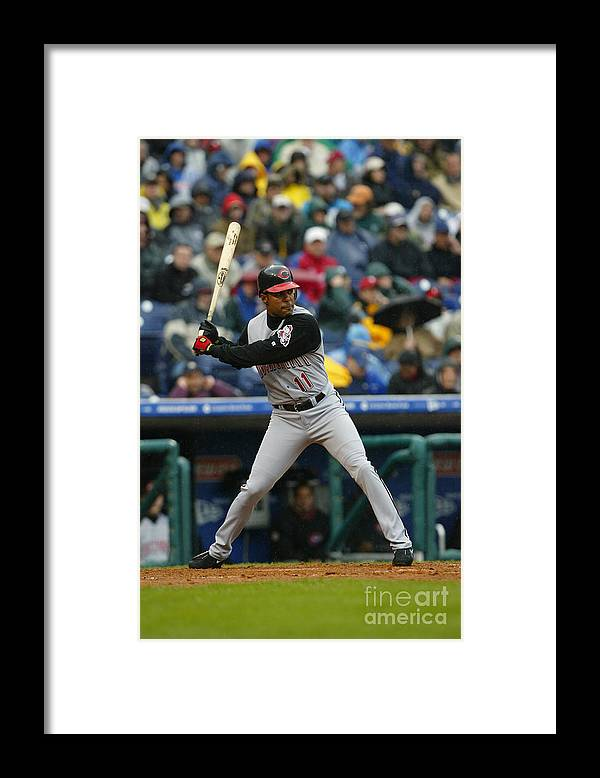 Citizens Bank Park Framed Print featuring the photograph Barry Larkin by Doug Pensinger