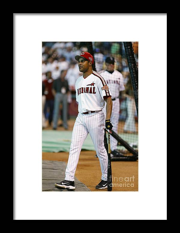 Batting Practice Framed Print featuring the photograph Barry Larkin by Mlb Photos