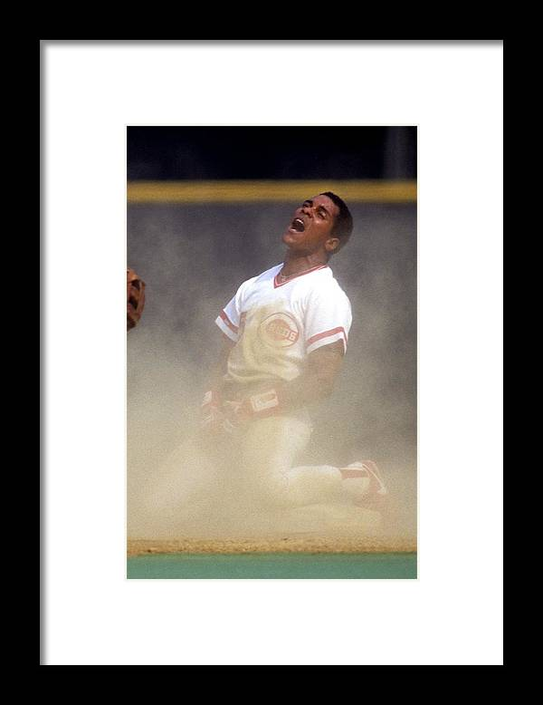 1980-1989 Framed Print featuring the photograph Barry Larkin by Ronald C. Modra/sports Imagery