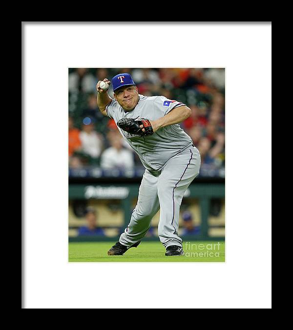 People Framed Print featuring the photograph Bartolo Colon and George Springer by Bob Levey