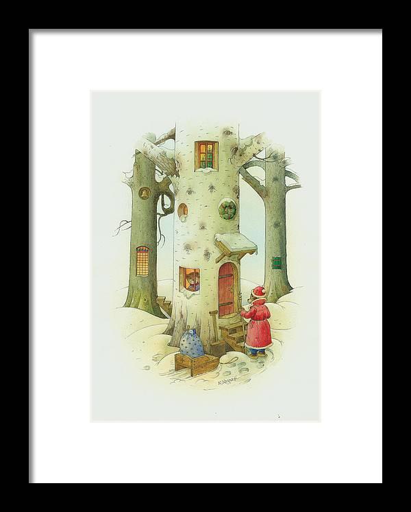 Christmas Framed Print featuring the painting Bears Christmas by Kestutis Kasparavicius