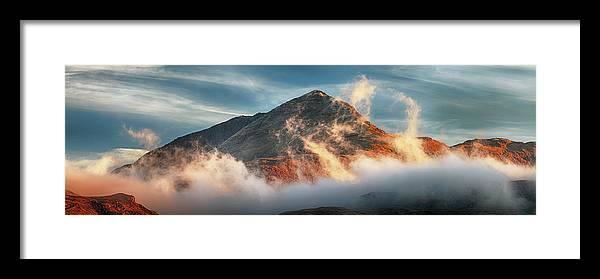 Ben Lomond Framed Print featuring the photograph Ben Lomond Misty Sunset by Grant Glendinning