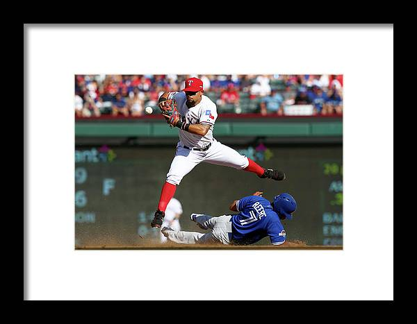 People Framed Print featuring the photograph Ben Revere And Rougned Odor by Ronald Martinez