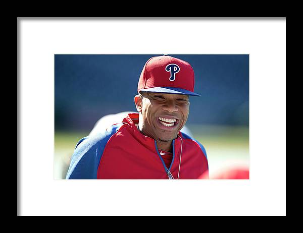 Citizens Bank Park Framed Print featuring the photograph Ben Revere by Mitchell Leff