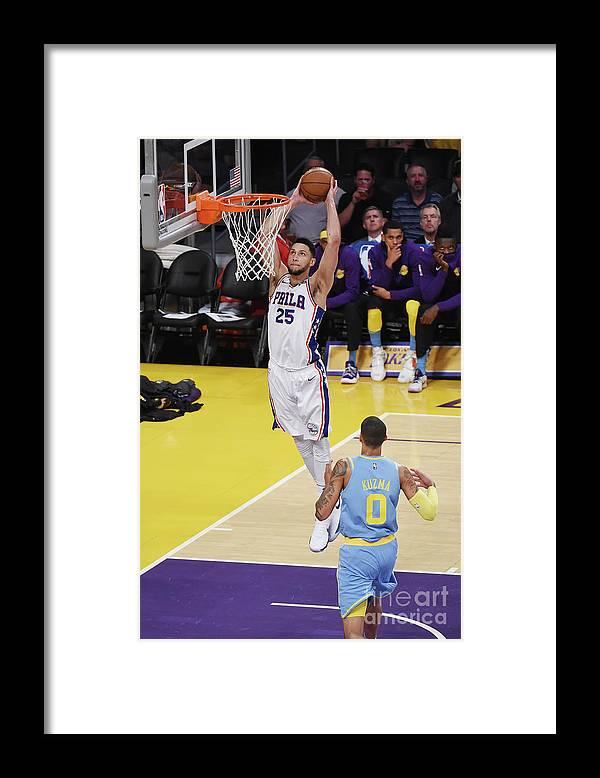 Nba Pro Basketball Framed Print featuring the photograph Ben Simmons by Adam Pantozzi