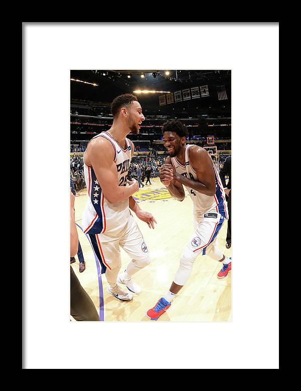 Nba Pro Basketball Framed Print featuring the photograph Ben Simmons and Joel Embiid by Andrew D. Bernstein