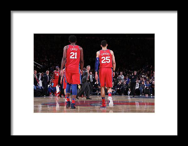 Nba Pro Basketball Framed Print featuring the photograph Ben Simmons And Joel Embiid by Nathaniel S. Butler