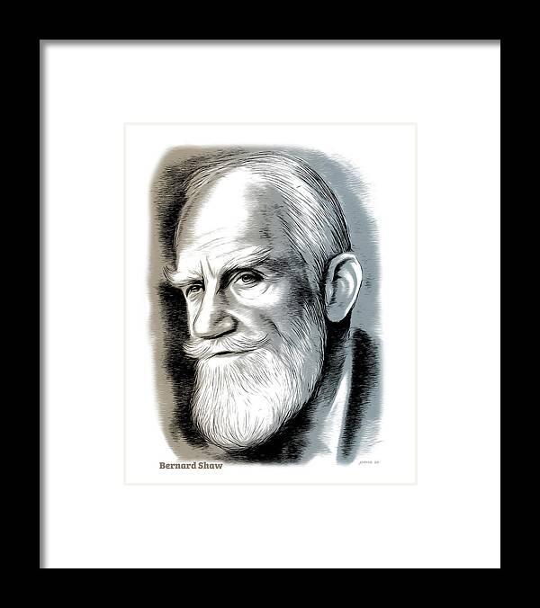 Bernard Shaw Framed Print featuring the mixed media Bernard Shaw - Mixed Media by Greg Joens