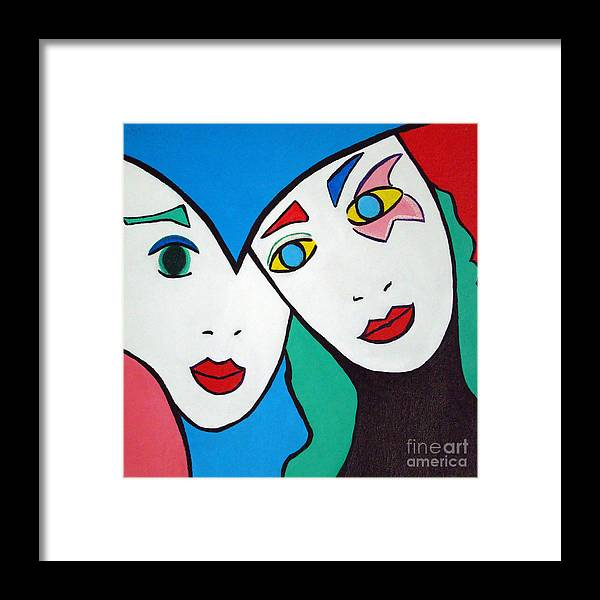 Pop-art Framed Print featuring the painting Best Friends by Silvana Abel
