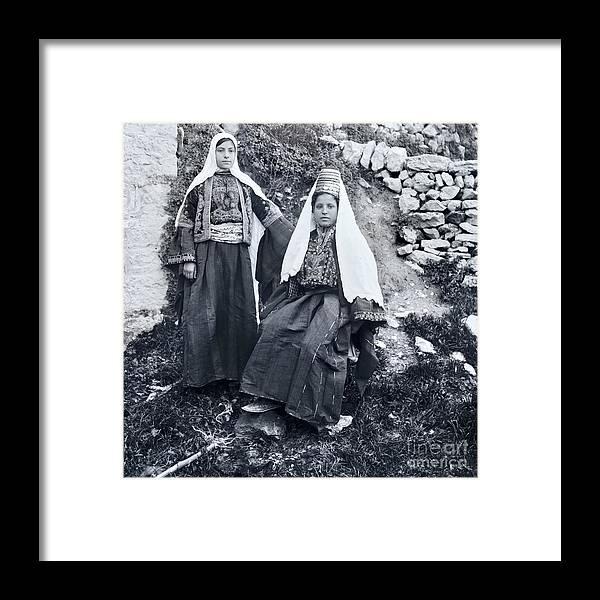 Women Framed Print featuring the photograph Bethlehem Women Before 1914 by Munir Alawi