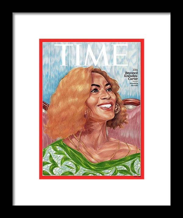 Time Framed Print featuring the photograph Beyonce Knowles Carter, 2014 by Painting by Toyin Ojih Odutola for TIME